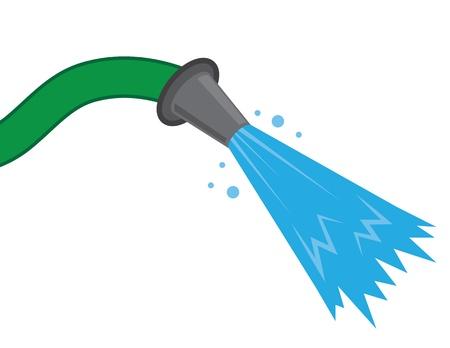 regando el jardin: Manguera de pulverizaci�n de agua contra el fondo vac�o