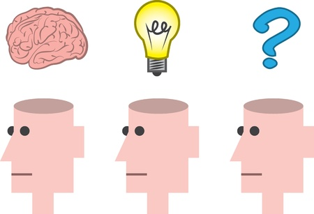 Isolated heads open thinking various things  Vector