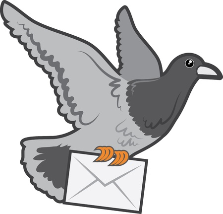 Carrier pigeon flying with envelope letter