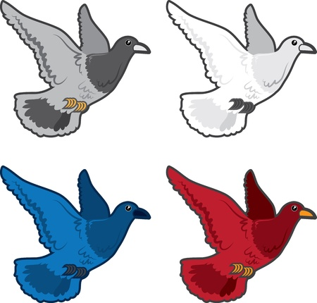 Isolated different colored birds flying