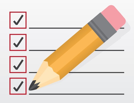 Checklist with large pencil closeup  Stock Vector - 17703061