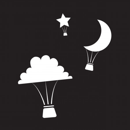 Hot air balloons shaped like nighttime shapes  Vector