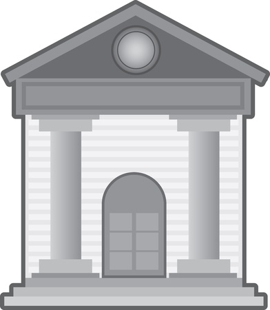 courthouse: Bank building symbol or icon isolated