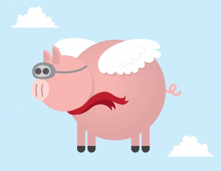 pig wings: Pig flying through the sky  Illustration