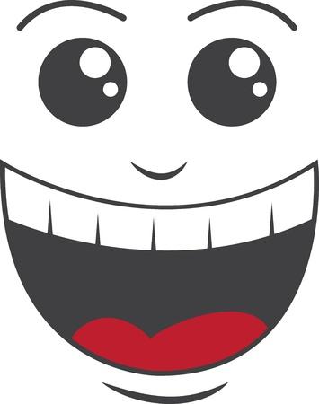 dientes caricatura: Cara aislada con gran sonrisa