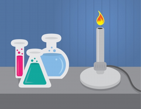 chemical reactions: Chemistry set with beakers and test tubes