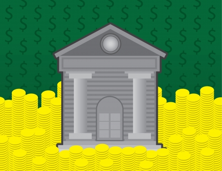 courthouse: Bank building surrounded by gold coins