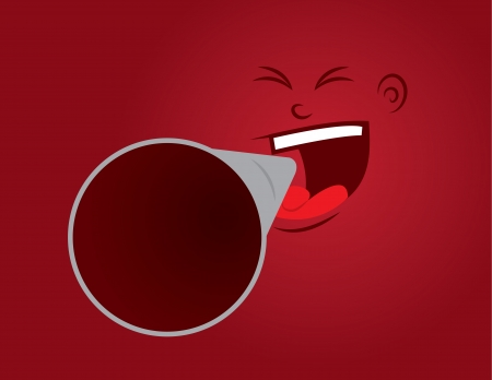 Red face yelling into megaphone Stock Vector - 17811946