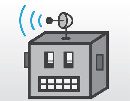 robot head: Robot head with radar signals   Illustration