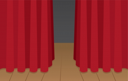 encore: Red curtain slightly opened on wooden stage