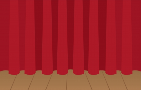 encore: Red curtain closed on wooden stage