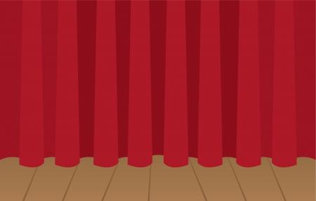sipario chiuso: Tenda rossa chiusa sul palco di legno