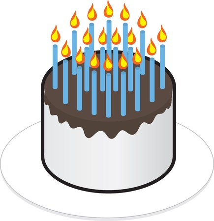 lots: Isolated cake with lots of candles