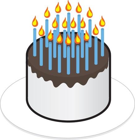 torta con candeline: Torta isolato con un sacco di candele