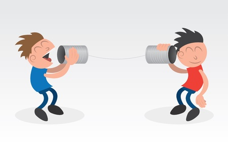 tin: Two people using cans on a string to communicate   Illustration