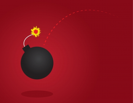 Lit bomb thrown with red background Stock Vector - 17811968