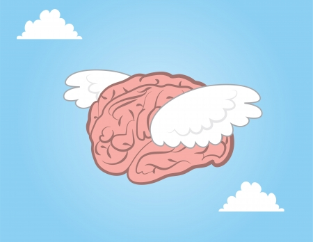 brain illustration: Brain with wings flying through the sky