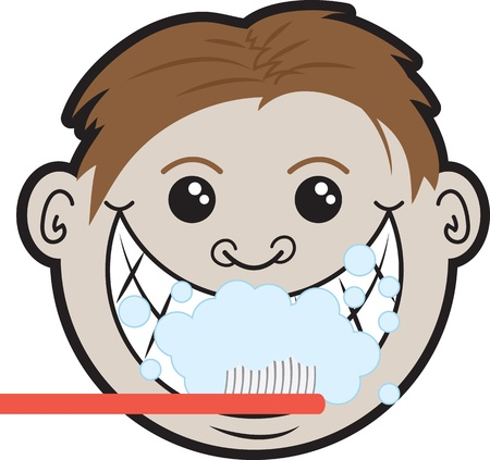 woman hygiene protection: Man brushing teeth with multiple bubbles  Illustration