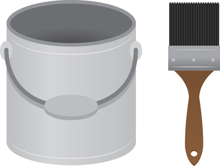 paint can: Patin brush and paint bucket  Illustration
