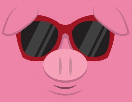 oink: Cartoon pig head with sunglasses  Illustration