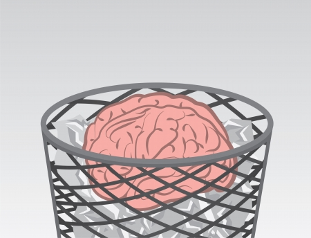 Garbage filled with brain and trash  Illustration