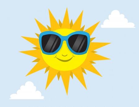 sun protection: Sun wearing sunglasses in the sky  Illustration