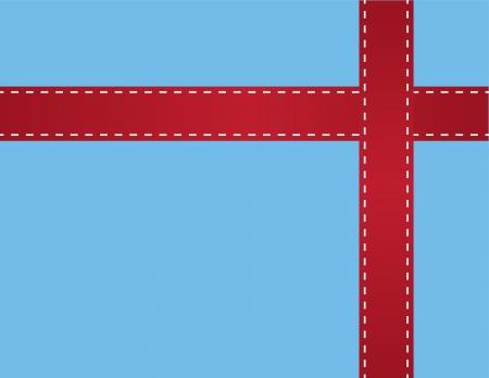 Nastro rosso intorno regalo blu Archivio Fotografico - 18010978