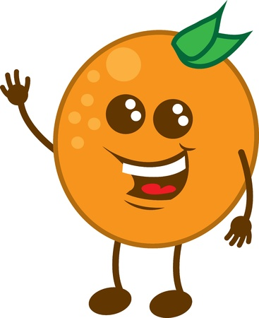 Isolated orange cartoon character waving  Stock Vector - 18234386