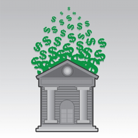 Bank building releasing floating green dollar signs