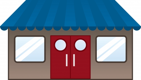 Isolated restaurant with blue awning Stock Vector - 18234398