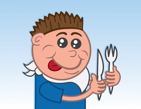 bib: Boy eating with knife and fork