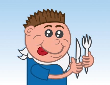 babero: Muchacho que come con cuchillo y tenedor