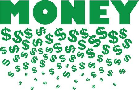 Money text with raining dollar symbols