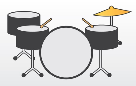drumsticks: Drum kit including cymbal and drumsticks  Illustration