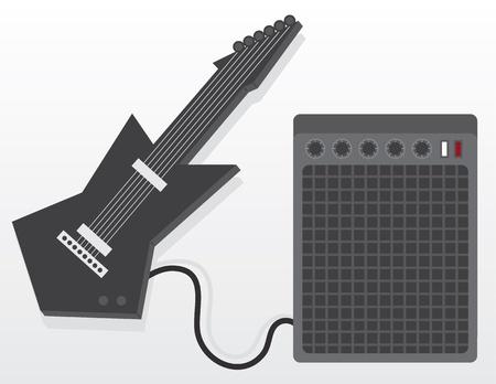 Zwarte elektrische gitaar met versterker Stockfoto - 18261951