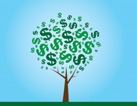 grow money: Money tree with dollar signs as leaves