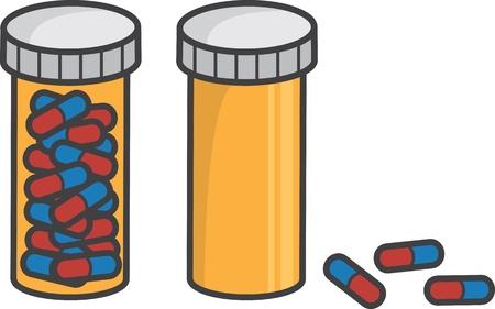 drug addict: Isolated pill bottle full and empty  Illustration