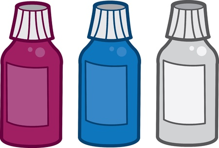 Various colored medicine bottles filled  Illustration
