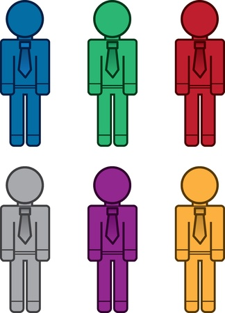 Isolated business workers in various colors Stock Vector - 18282688