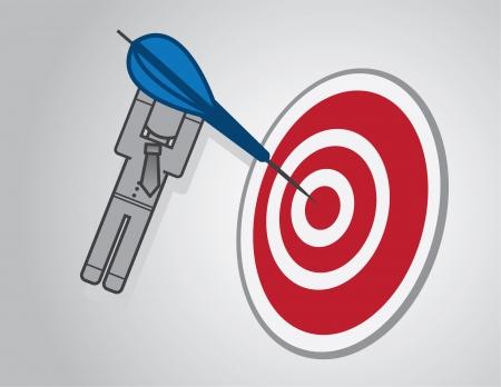 dangle: Bullseye with businessman holding on to dart  Illustration