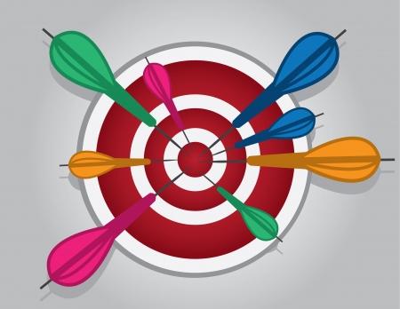 Bullseye with many darts hitting the center  Stock Vector - 18282698