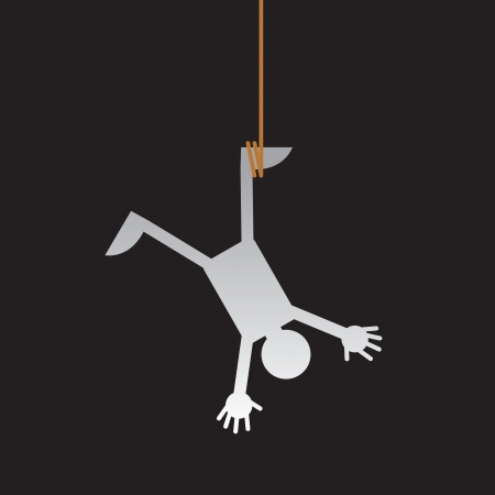 Figure hanging from a rope upside down