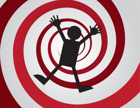 Figure falling down red spiral