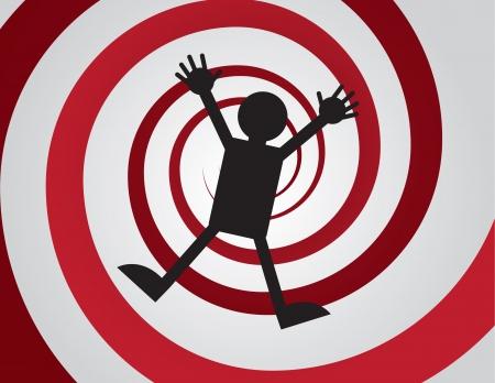 Figuur vallen rode spiraal