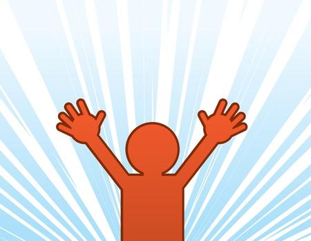 persona saltando: Figura saltando en un estado de sorpresa