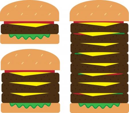 starving: Isolated hamburger stacks. Small medium and large.  Illustration