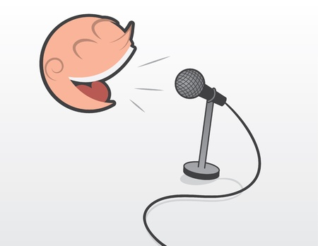 Floating head talking or singing into microphone