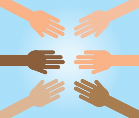 towards: Various hands reaching out towards one another  Illustration