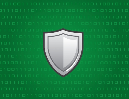 zeros: Shield in front of green tech background
