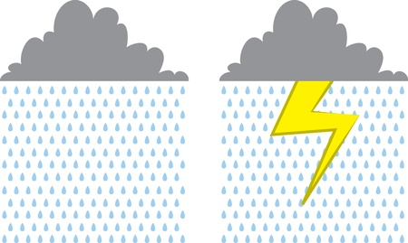 Isolated rain cloud with and without lightning strike  Stock Vector - 18392357